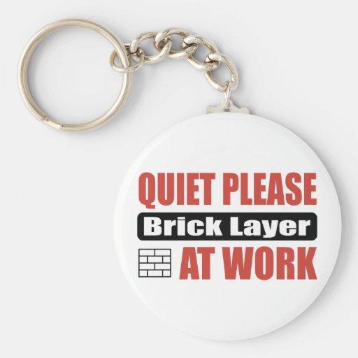 Quiet Please Brick Layer At Work Basic Round Button Keychain