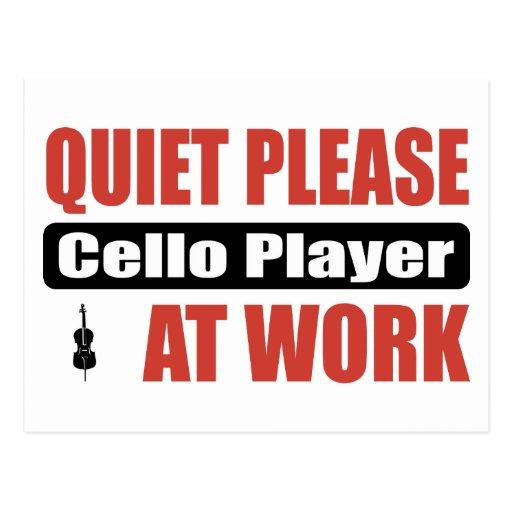 Quiet Please Cello Player At Work Postcard