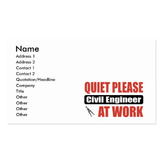 Quiet Please Civil Engineer At Work Double-Sided Standard Business Cards (Pack Of 100)