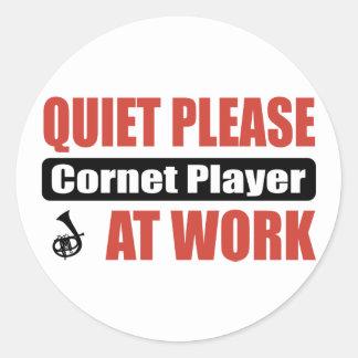 Quiet Please Cornet Player At Work Classic Round Sticker