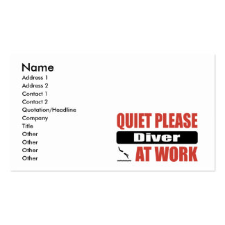 Quiet Please Diver At Work Double-Sided Standard Business Cards (Pack Of 100)