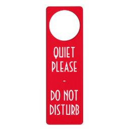 Quiet please Do not disturb sign door hanger