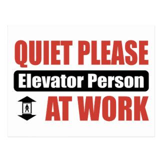 Quiet Please Elevator Person At Work Postcard