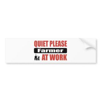 Quiet Please Farmer At Work Bumper Sticker