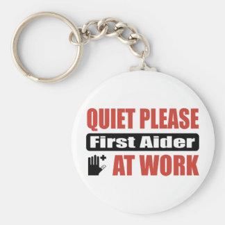 Quiet Please First Aider At Work Basic Round Button Keychain