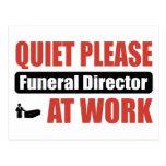 Quiet Please Funeral Director At Work Postcards