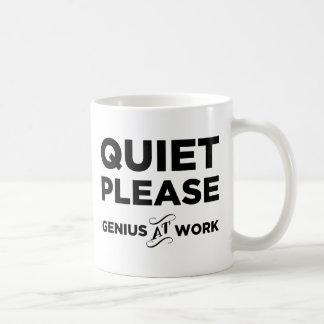 Quiet Please Genius At Work Classic White Coffee Mug