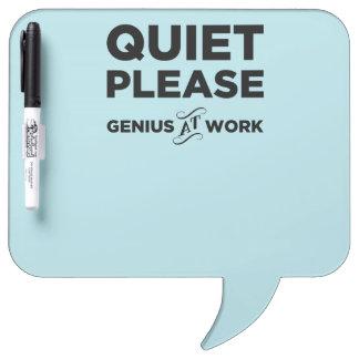 Quiet Please Genius At Work Dry-Erase Board