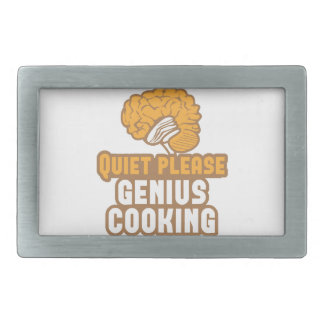 Quiet please Genius COOKING! Rectangular Belt Buckle