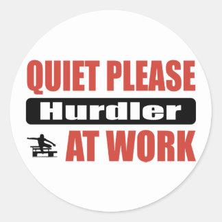 Quiet Please Hurdler At Work Round Stickers