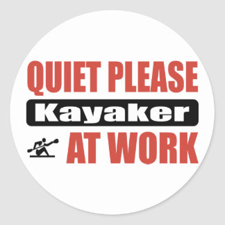 Quiet Please Kayaker At Work Stickers