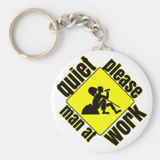 Quiet please, man at work basic round button keychain
