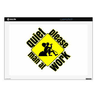 """Quiet please, man at work decals for 17"""" laptops"""