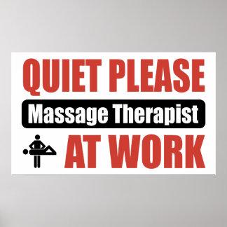 Quiet Please Massage Therapist At Work Poster