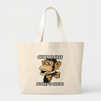 Quiet Please, Monkey Is Gaming Large Tote Bag