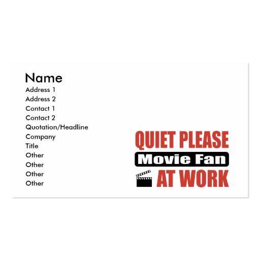 Quiet Please Movie Fan At Work Double-Sided Standard Business Cards (Pack Of 100)