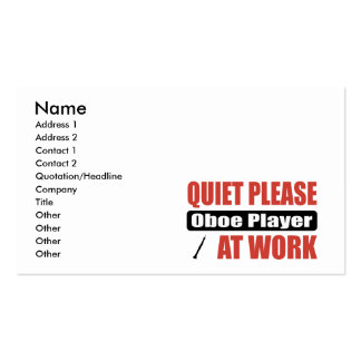 Quiet Please Oboe Player At Work Double-Sided Standard Business Cards (Pack Of 100)