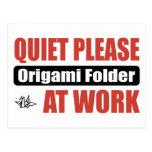 Quiet Please Origami Folder At Work Postcard