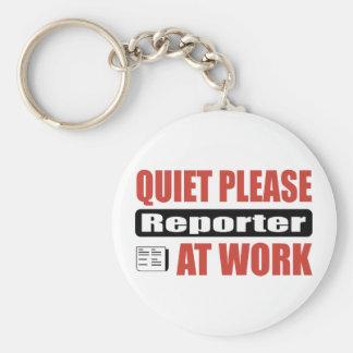 Quiet Please Reporter At Work Keychain