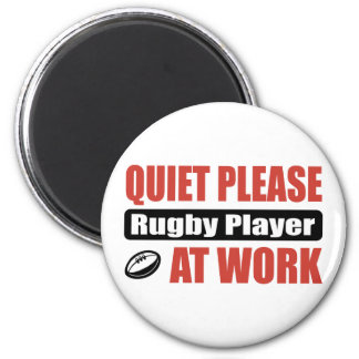 Quiet Please Rugby Player At Work 2 Inch Round Magnet