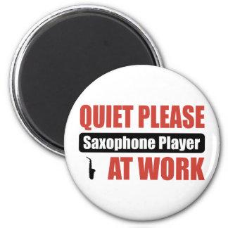 Quiet Please Saxophone Player At Work 2 Inch Round Magnet