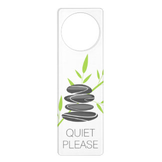 Quiet please sign door hanger | Zen pebble stones