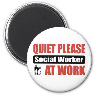 Quiet Please Social Worker At Work 2 Inch Round Magnet
