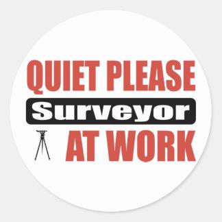 Quiet Please Surveyor At Work Classic Round Sticker