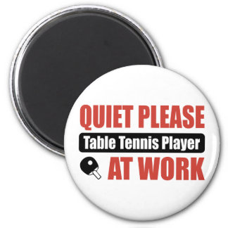 Quiet Please Table Tennis Player At Work 2 Inch Round Magnet