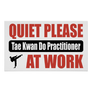 Quiet Please Tae Kwan Do Practitioner At Work Poster