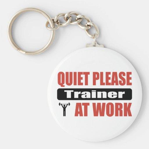 Quiet Please Trainer At Work Basic Round Button Keychain