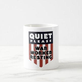 Quiet Please War Worker Resting -- WW2 Classic White Coffee Mug