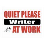 Quiet Please Writer At Work Post Card