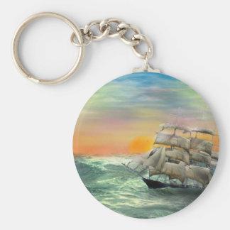 quiet Seas Basic Round Button Keychain