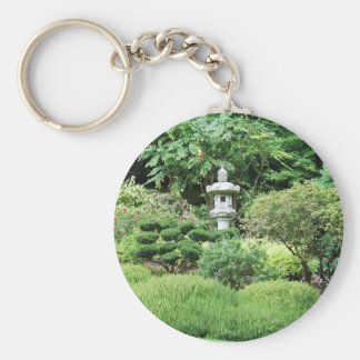 Quiet solitude and lush green of a Japanese Garden Keychain