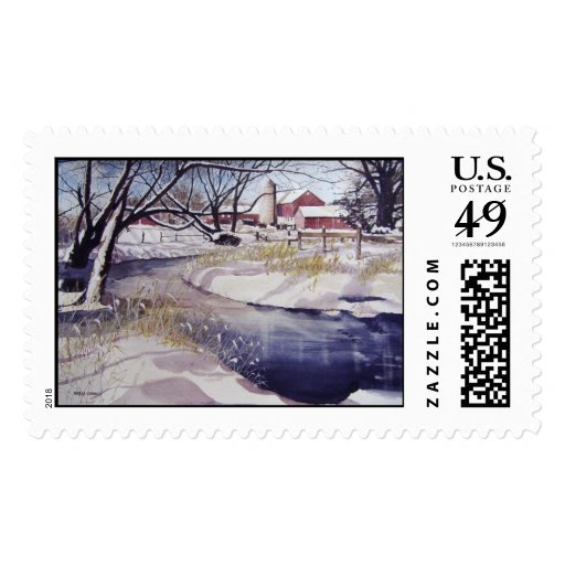 Quiet stream during winter- stamps