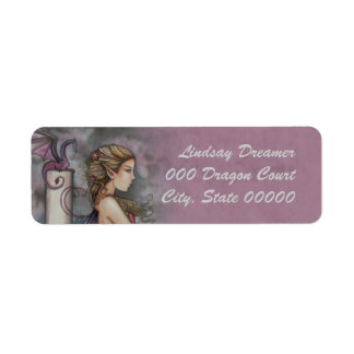 Quiet Thoughts Fairy and Dragon Art Label