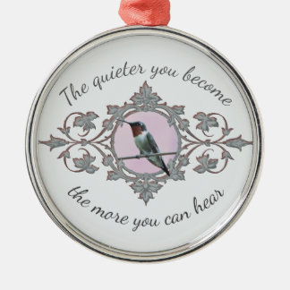 Quiet Time, Resting Hummingbird Metal Ornament