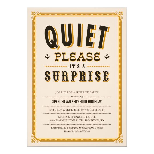 quiet vintage surprise party invitations | zazzle, Party invitations