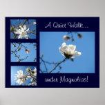 Quiet Walk under Magnolias! art print gifts Blue