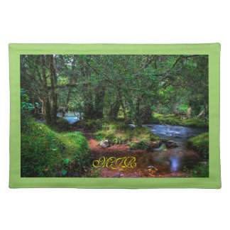 Quietly Flows The River Monogram place setting Placemat