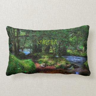 Quietly Flows The River, Spitchwick, Dartmoor Lumbar Pillow