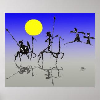 Quijote y Sanchopanza (color de Don de Digitaces) Posters