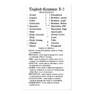 Quik-Ref English Grammar I-2 Pocket/Wallet Business Card