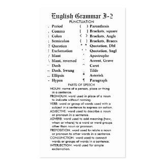 Quik-Referencia bolsillo/cartera de la gramática Tarjetas De Visita