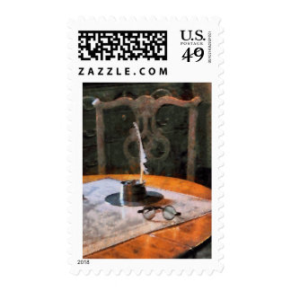 Quill and Eyeglasses Postage Stamps