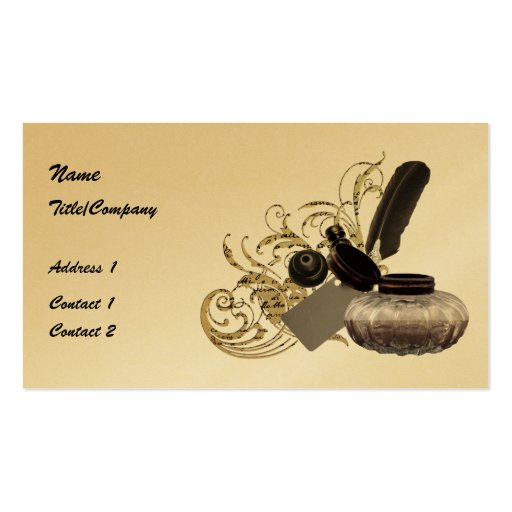 Quill and Ink Pot Business Cards