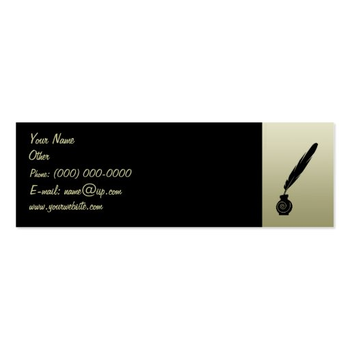 Quill Pen & Ink Profile Card Double Sided Mini Business