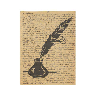 Quill Pen on Vintage Letter Page Wood Poster