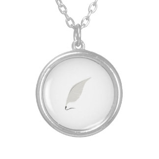 Quill Pen Round Pendant Necklace